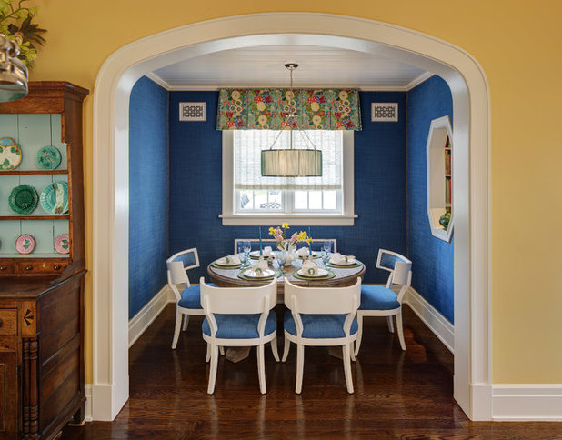 Room Of The Day Dressing A Dining Alcove In Bright Blue