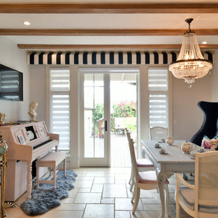 Example Of A Cottage Chic Beige Floor Dining Room Design In San Diego With  Gray Walls