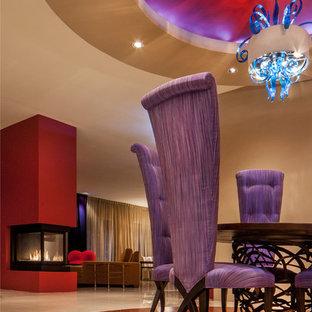 Idee per una sala da pranzo aperta verso il soggiorno design con pareti beige