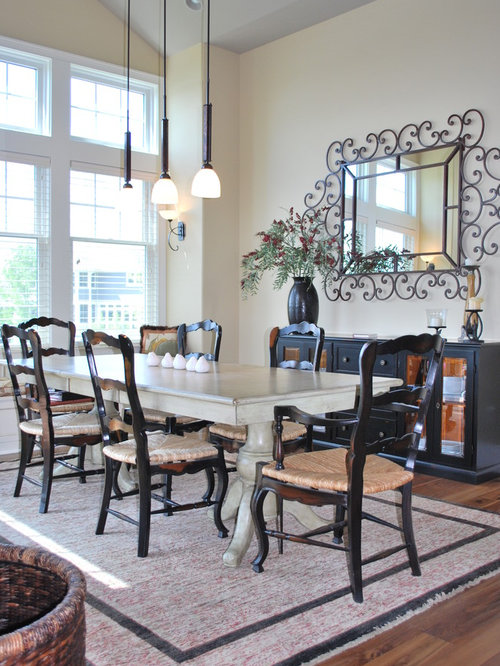 Traditional medium tone wood floor dining room idea in Indianapolis with  beige walls. Off White Dining Table   Houzz