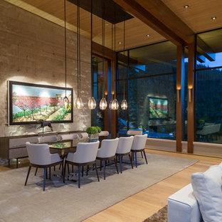 Ispirazione per un'ampia sala da pranzo aperta verso il soggiorno minimal con pareti beige, parquet chiaro, camino classico e cornice del camino in pietra