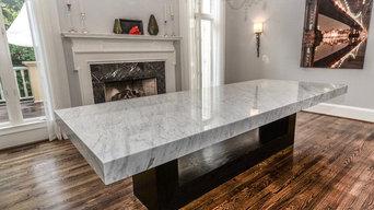 White Carrara Marble Dining Room
