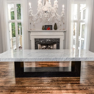 White Carrara Marble Dining Room