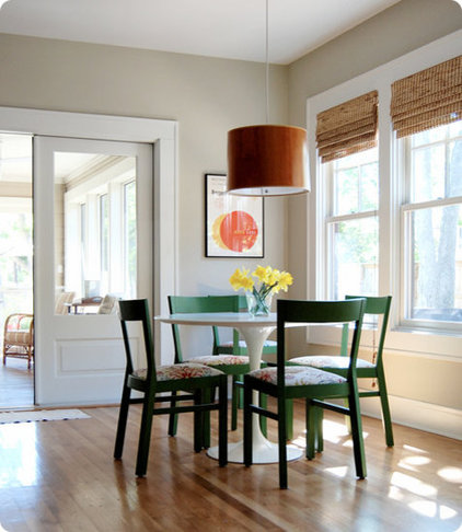 Eclectic Dining Room white modern table