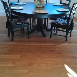 """white oak plank floor - 5"""" x 3/4"""" solid White Oak, wire brushed, oil finished plank floor. Color natural. This floor is pre finished with the WOCA UV oil from Denmark."""