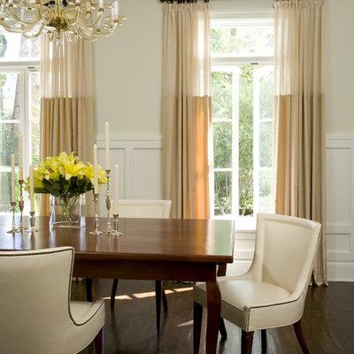 Dining room - traditional dark wood floor dining room idea in Los Angeles with beige walls