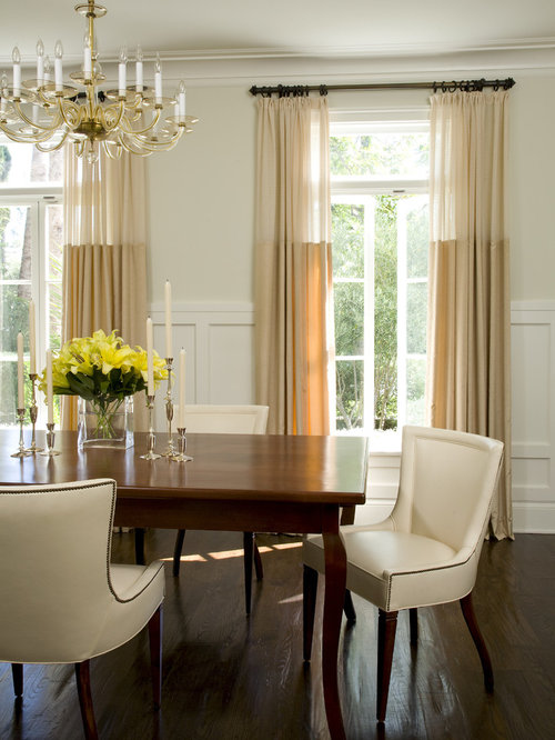 Traditional Dark Wood Floor Dining Room Idea In Los Angeles With Beige Walls