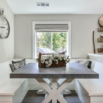 Inspiration for a mid-sized country light wood floor and beige floor kitchen/dining room combo remodel in San Francisco with gray walls and no fireplace