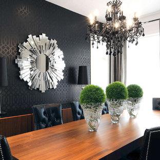 Inspiration för moderna matplatser, med svarta väggar