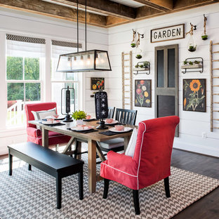 Dining room - farmhouse dark wood floor dining room idea in DC Metro with white walls