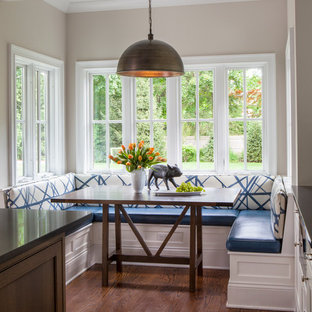Inspiration for a transitional dark wood floor kitchen/dining room combo remodel in Chicago with beige walls