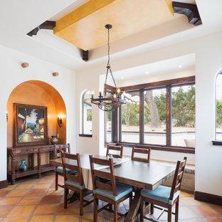 Idee per una grande sala da pranzo aperta verso la cucina mediterranea con pareti multicolore, pavimento in terracotta, nessun camino e pavimento marrone