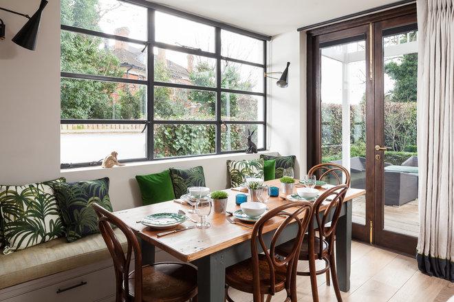 Transitional Dining Room by SGS Design Ltd