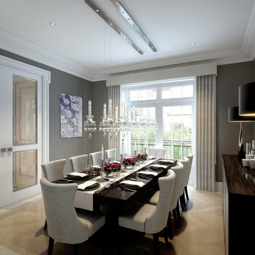 dining room gray. transitional light wood floor and beige enclosed dining room idea in london with gray walls