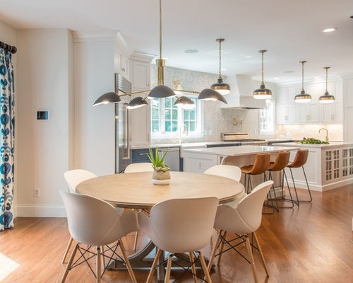 Example of a transitional dining room design in Boston with white walls   medium tone hardwoodDining Room Ideas   Design Photos   Houzz. Dining Room Design Photos. Home Design Ideas