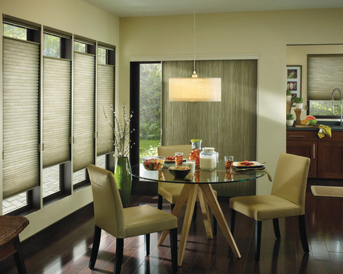 Example Of A Minimalist Dark Wood Floor Dining Room Design In Boston With  Beige Walls Part 37