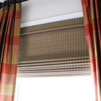 Window Treatments - Pleated Plaid Silk Draperies with Bamboo Shades, and Drapery Hardware: Rod, Rings, & Finials.