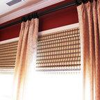 Window Treatments - Custom Pleated Draperies with Bamboo Shades, and Drapery Hardware: Rod, Rings, & Finials.