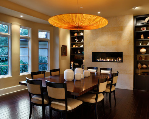 Contemporary Dark Wood Floor Dining Room Idea In San Francisco With Beige Walls