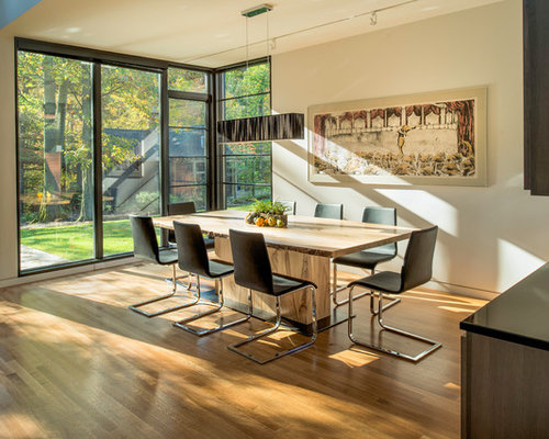 Contemporary Medium Tone Wood Floor And Brown Dining Room Idea In Detroit With Beige Walls