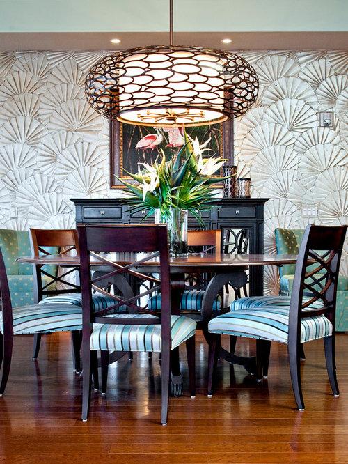 salle manger avec un mur multicolore tampa photos et id es d co de salles manger. Black Bedroom Furniture Sets. Home Design Ideas