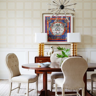Design ideas for a large nautical open plan dining room in Jacksonville with white walls, dark hardwood flooring and brown floors.