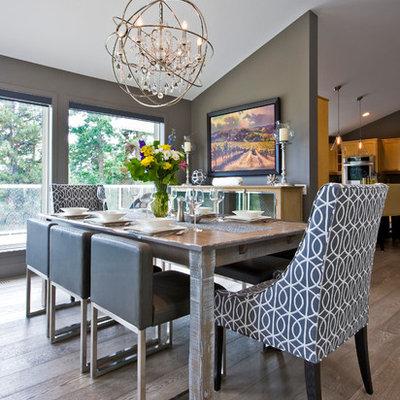 Dining room - contemporary dark wood floor dining room idea in Vancouver with gray walls