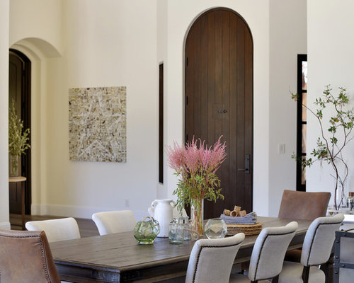 Tuscan Dining Room Photo In San Francisco With White Walls