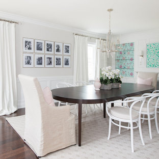 Inspiration For A Transitional Dark Wood Floor And Brown Floor Dining Room  Remodel In Chicago With