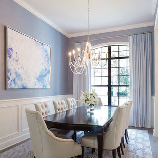 Design ideas for a mid-sized transitional separate dining room in Orlando with grey floor, grey walls, dark hardwood floors and no fireplace.