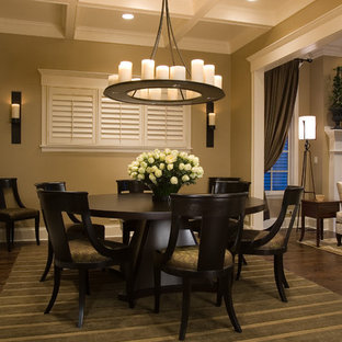Dining room - traditional dark wood floor and brown floor dining room idea in Chicago with beige walls