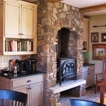 Wood Stove in Stone Alcove