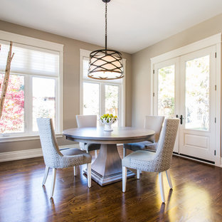 Mid Sized Island Style Dark Wood Floor Dining Room Photo In Toronto With Beige Walls