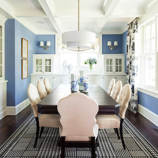 Dining room - transitional dining room idea in Minneapolis with blue walls