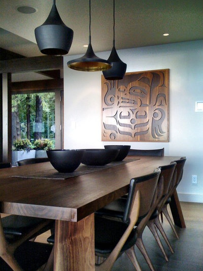 Contemporary Dining Room By Gaile GuevaraNew Classics Tom Dixon S Beat Pendant Lights