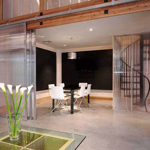 Inspiration For A Modern Concrete Floor Dining Room Remodel In San Francisco