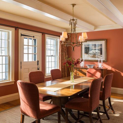 Landhausstil esszimmer mit roter wandfarbe ideen design - Landhausstil wandfarbe ...