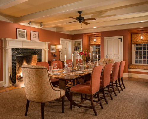 Example Of A Large Country Dining Room Design In Burlington With Light Hardwood Floors