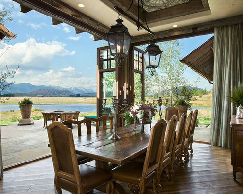 Mountain Style Dark Wood Floor Dining Room Photo In Other