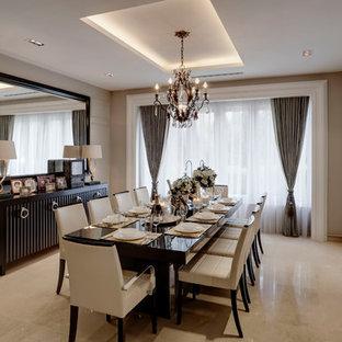 Inspiration pour une grand salle à manger design avec un sol en marbre et aucune cheminée.
