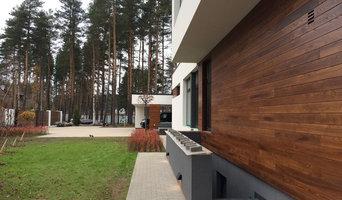Дом в Ленинградской области. Отделка фасадов термоясенем.