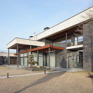 Идея дизайна: большой, двухэтажный, разноцветный частный загородный дом в современном стиле с комбинированной облицовкой, плоской крышей и крышей из смешанных материалов