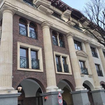 Облицовка фасада жилого дома на Полянке
