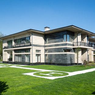 Идея дизайна: двухэтажный частный загородный дом в современном стиле с плоской крышей