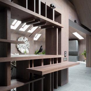 Свежая идея для дизайна: домашний бар в современном стиле с серым полом - отличное фото интерьера
