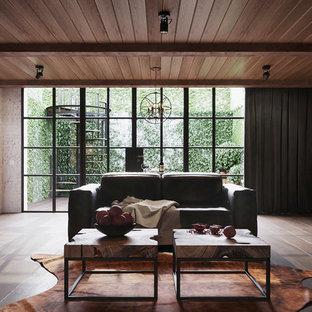 Großes, Offenes Modernes Heimkino mit weißer Wandfarbe, Keramikboden, Wand-TV und braunem Boden in Barcelona