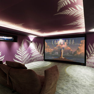 Photo of a contemporary enclosed home cinema in Saint Petersburg with purple walls and carpet.
