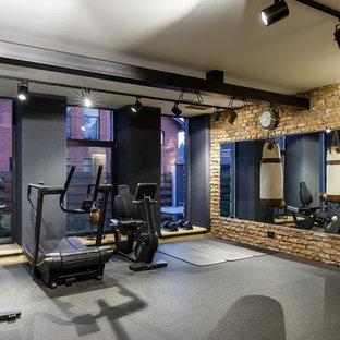 Idéer för industriella hemmagym med fria vikter, med grått golv