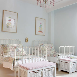 Kids' room - mid-sized shabby-chic style girl kids' room idea in Madrid with blue walls