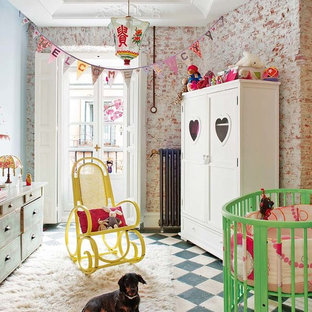 Inspiration for a mid-sized shabby-chic style gender-neutral kids' room remodel in Madrid with blue walls